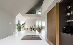 A gabled greenhouse appears to slide out from beneath the thatched roof of this villa, completed by Maas Architecten in the Dutch countryside Modern Greenhouses, Home Greenhouse, Glass Structure, Thatched Roof, Design Moderne, Modern Buildings, Interior Architecture, Interior Design, Modern Interior
