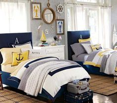 A little too Pottery Barn/Themed out for me but I like the touch of yellow to go with the bedding I just ordered for Jojo.  Nautical Decorating Ideas for Kids Rooms from Pottery Barn Kids