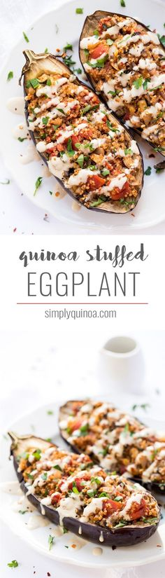 I'm totally obsessed with this Mediterranean Quinoa Stuffed Eggplant! It's full of flavor, packed with veggies, and takes just 30 minutes to make! Simply Quinoa #quinoastuffedeggplant #eggplantrecipe #quinoa #simplyquinoa