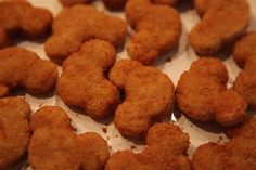 Mickey shaped nuggets from Costco...must have for Kaylyn's first birthday!