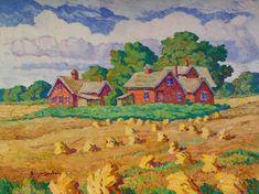 Late Years (1930-1953) - Birger Sandzén Memorial Gallery 1950 Red Farm and Wheat Shocks board 30 x 40