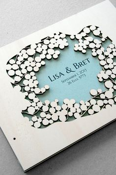 Woodcut Wedding Guest Book Album Branches