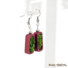 Boucles d'oreille vertige prune avec lichen - bijou créateur, bijoux fait main, bijoux créateur, bijou fait main, bijou femme, bijoux femme, bijou vegetal, bijou végétal, bijoux végétaux, bijoux vegetaux