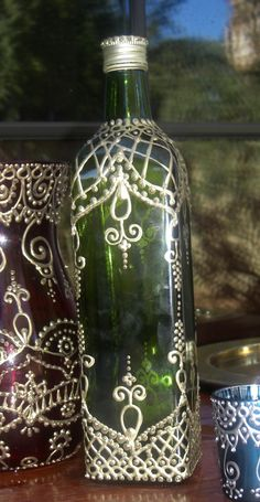Hand Painted Green Moroccan Henna Design Olive Oil Bottle