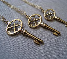 set of 3 Bridesmaid gift Key necklace friendship by thejewelrybar, $81.00