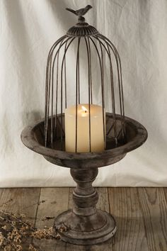 Antiqued Metal Pedestal with Cage small urn to put candle and cloche too for table settings Paper Lantern Lights, Candle Lanterns, Paper Lanterns, Chandelier Bougie, Chandeliers, Bougie Candle, Small Urns, Save On Crafts, The Bell Jar