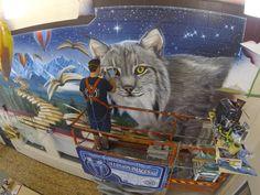 #lynx #mural #airbrush #jackD #scissorlift #SchoolMural #painting #fantasy #illusionimages #painted School Murals, Lynx, Airbrush, Custom Design, Fantasy, Painting, Art, Air Brush Machine, Art Background
