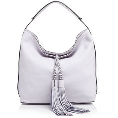 Rebecca Minkoff Isobel Hobo ($345) ❤ liked on Polyvore featuring bags, handbags, shoulder bags, pale lilac, leather hobo handbags, woven leather handbag, leather handbags, hobo handbags and leather hobo purse