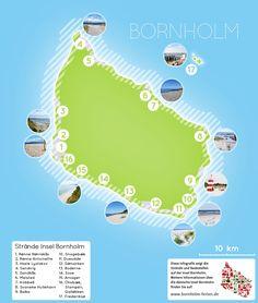 Übersichts-Karte der Strände auf Bornholm