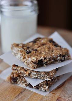 Emily's Healthy Banana Oat Snack Bars Use: 1 c. applesauce instead of bananas, add 1/2 c. flax seed, 1 c. coconut, half choco chips