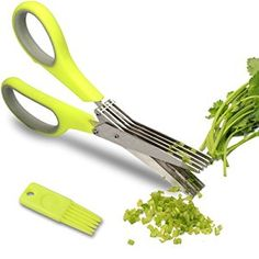 Amazon.com: Herb Scissors - Multipurpose Kitchen Shears with 5 Stainless Steel Blades - Attached Handy Cleaning Comb - Chef Trusted Premium Cooking Gadget for a Healthy Meal(Green): Kitchen & Dining