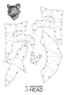 Papercraft raccoon head printable DIY template by WastePaperHead