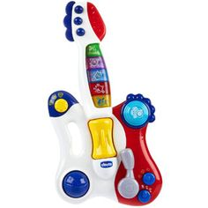 $34.99 - A electronic toy guitar full of features for the young child. Select from three different musical styles (Rock, Pop and Blues) and choose among 3 play modes (short tunes, pre-recorded melodies and follow-me).The 23 pre-recorded melodies can be enriched with the 3 different mixer functions: drums, vibration and acceleration of the rhythm.