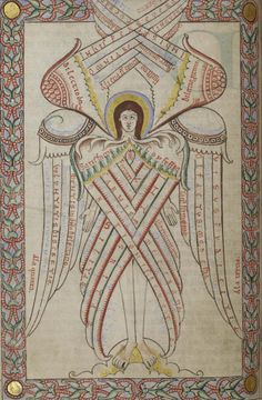 Six-winged seraph from MS 66 (late twelfth-century manuscript) Angel Hierarchy, Order Of Angels, Byzantine Icons, Illustration, Angels And Demons, Medieval Art, Sacred Art, Christian Art, Illuminated Manuscript