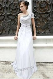 tiffany silver one-shoulder floor-length Compound Fibre evening/party/homecoming dress 80536
