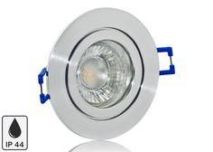 Feuchtraum LED Einbaustrahler Set IP44 Aluminium Feinschliff rund mit Marken GU10 LED Spot LC Light 5 Watt 9 SMD