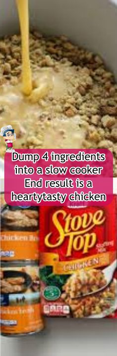 Dump 4 ingredients into a slow cooker. End result is a hearty, tasty chicken and stuffing Best Stuffing, Stuffing Recipes, Meatloaf Ingredients, 4 Ingredients, Dump Cake Recipes, Real Food Recipes, Crustless Broccoli Quiche, Hamburger Stew, Slow Cooker Meatloaf