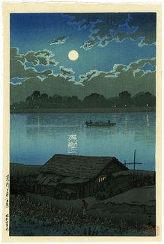 Moon over Arakawa, Tokyo (1929) by Kawase Hasui, Japan 川瀬巴水 荒川の月 (赤羽)