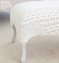 DIY project: Cable-knit sweater footstool {PHOTO: Ryan Brook/TC Media}