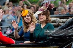 Princess Beatrice and Princess Eugenie, travel by carriage along The Mall to the annual Trooping The Colour ceremony at Horse Guards Parade on June 11, 2016 in London, England. (Photo by Julian Parker/UK Press via Getty Images)