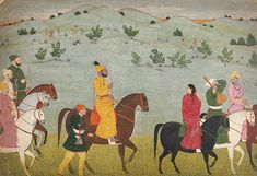 Mukund Dev of Jasrota riding. By Nainsukh, c. This painting by the renowned Pahari painter Nainsukh shows the local ruler Mian Mukund Dev of Jasrota riding with musicians. Mukund Dev (about. Pichwai Paintings, Mughal Paintings, Vintage India, Traditional Paintings, Traditional Art, Contemporary Paintings, Mughal Miniature Paintings, India Painting, Gods And Goddesses