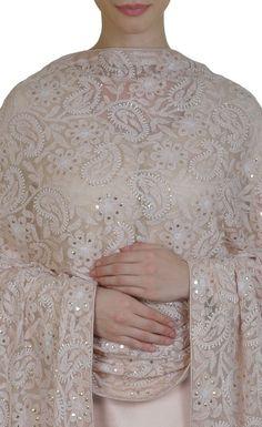 Oyster Pink Chikankari and Kamdani Fine Soft Net Dupatta Kurti Designs Party Wear, Kurta Designs, Blouse Designs, India Fashion, Ethnic Fashion, Indian Attire, Indian Wear, Pakistani Outfits, Indian Outfits