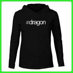 Idakoos - Hashtag Dragon - Animals - Hooded Long Sleeve T-Shirt - Fantasy sci fi shirts (*Amazon Partner-Link)