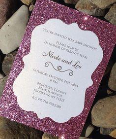 Baby Shower Invitation 25 Glitter Baby by SoireeCustomPaperCo