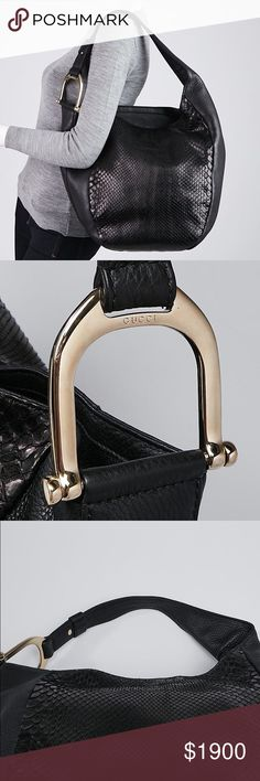 674dbb4c308474 GUCCI Black Python and Leather Greenwich Hobo Bag Christmas gift from my  coworkers :) This