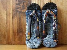 Repurposed, Reused & Recycled_M Japanese zori slippers with Kimono print and by IrodoriLife