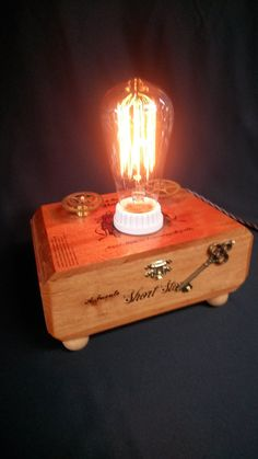 OOAK Steampunk Lamp With Edison Style Bulb On Wooden Cigar Box, Repurposed,  Recycled,