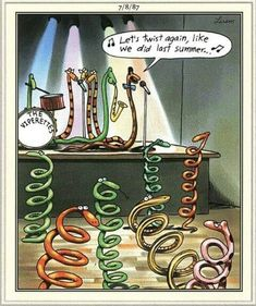 The far side by Gary Larson That had some lasting consequences for the dancing snakes. Far Side Cartoons, Far Side Comics, Funny Cartoon Memes, Funny Comics, Hilarious Memes, Gary Larson Far Side, Ems Humor, Gym Humour, Gary Larson Cartoons