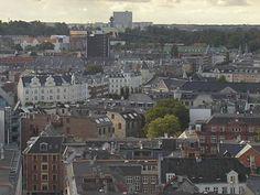 View from the floor in an office building Bricks, Copenhagen, Paris Skyline, Copper, Floor, Building, Travel, Pavement, Viajes