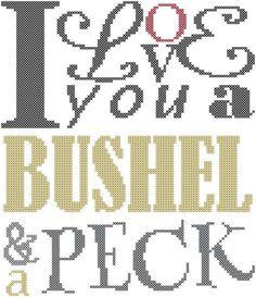 Modern Cross Stitch Pattern I love you a bushel and a peck subway style/typography