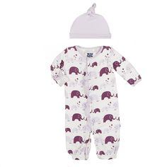 Print Ruffle Layette Gown Converter & Knot Hat Set in Girl Bubble Elephant