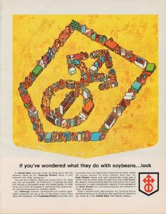 """1963 CENTRAL SOYA vintage print advertisement """"soybeans"""" ~ if you've wondered what they do with soybeans ... look -- At Central Soya, amazing things are done with the soybean. (Many by our Chemurgy Division. Some in joint research with other companies.) ~"""
