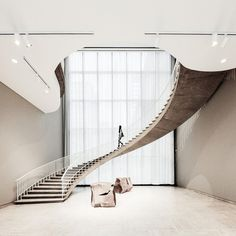 Spiral staircase in the Art Institute of Chicago (X-post from /r/pics) - Stairs, Designs Of Stairs Inside House, Home Stairs Ideas, Staircase Design Ideas, Modern And Retro Staircase Designs For Big A Modern Staircase, Spiral Staircase, Staircase Design, Soho House, Beautiful Architecture, Architecture Design, Design Studio, House Design, Ace Hotel