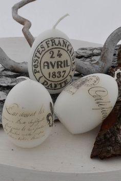 Easter Egg Candles  świeczki w kształcie jajek udekorowane decoupagem