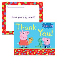 Peppa Pig Spotty Thank You Cards  - party ideas, games and birthday activities for children's parties with ideas for decorations, invitations, and gifts.