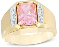 Zales Men's Octagonal Pink Topaz and Diamond Accent Ring in 10K Two-Tone Gold