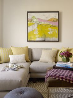 Appealing Yellow Scenery Painting Studded on Center Wall of Neutral Living Room with Gray Small Sectional Sofa