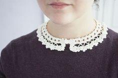 Detachable collar lace crochet - Violets - Peter pan collar