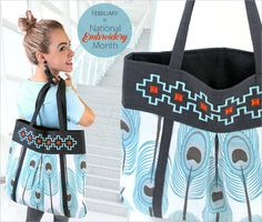 Embroidered Teardrop Tote: Large Shopper Style