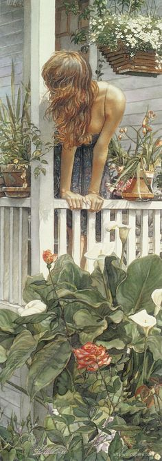 """Anticipation"" - Steve Hanks (American, 1949–2015), watercolor, 1989 {contemporary figurative art female standing woman watercolor flowers painting #arthistory} Wonderful !! stevehanksartwork.com"