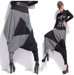 Two Tone Patched Work Long Black Printed Letters Hip Hop Pants