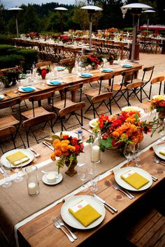 I just love the long tables...each are set the same but different colors...nice