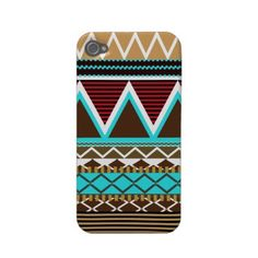 Brown & Turquoise Tribal iPhone 4/4S Case-Mate by OrganicSaturation  Create customizable iPhone 4 cases at Zazzle.