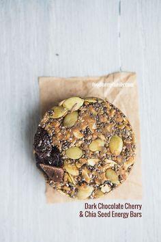 Dark Chocolate Cherry and Chia Energy Bars #recipe via FoodforMyFamily.com