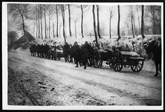 Guns on their way to the front through the snow of northern France by National Library of Scotland, via Flickr