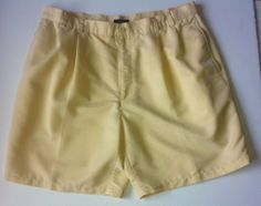 TRENDY Size 38 MENS ALFANI PREPPY GOLF SHORTS Yellow Flat Front Pleated